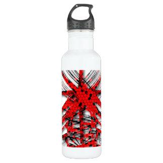 Abstracción roja fantástica de líneas botella de agua