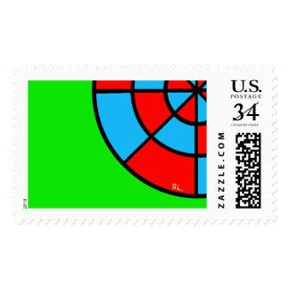 Abstrackt redondo en 3 coloures, verdes en sellos