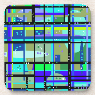 Abstract1950s Blues Design Drink Coaster