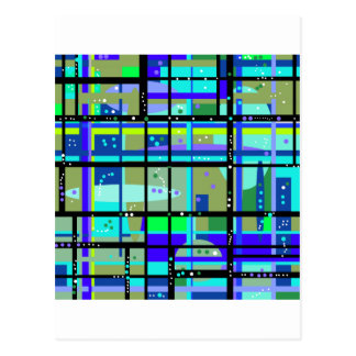 Abstract1950s Blues Design Postcard
