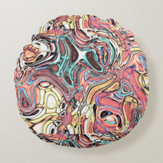 Abstract 02–Swirls and Puddles, Modified Round Pillow