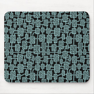 Abstract 041113 - Light Blue Green on Black Mouse Pad