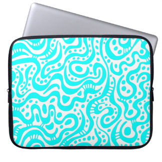 Abstract 041211 - Cyan and White Computer Sleeve