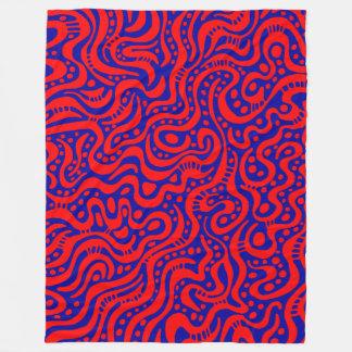Abstract 041211 - Red on Deep Blue 000099 Fleece Blanket