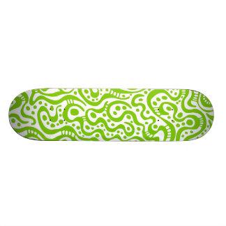 Abstract 041211v3 - Martian Green on White Skateboard Deck