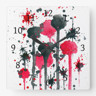 Abstract 11 red & black spots square wall clock