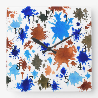 Abstract 12 blue & brown spots square wall clock