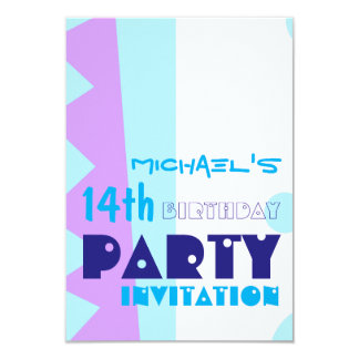 Abstract 14th Birthday Party Invitatio Card