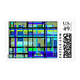 Abstract 1950s Design No. 2 Postage Stamps