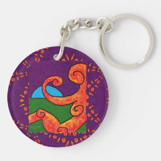 Abstract 1-6-10 Acrylic Round Keychain