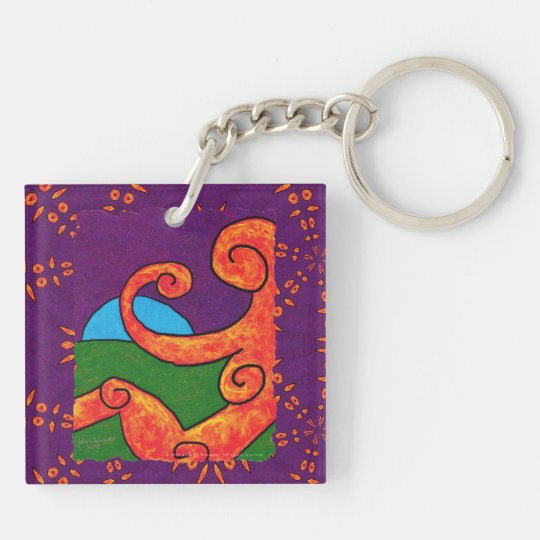 Abstract 1-6-10 Acrylic Square Keychain