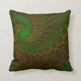 Abstract 340 an Orange Spiral on Green Pillows