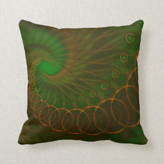 Abstract 340 an Orange Spiral on Green Throw Pillow