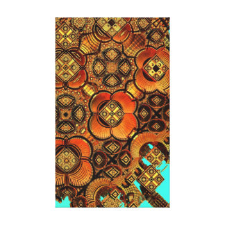 Abstract 3 dimensional artwork in orange earth stretched canvas prints