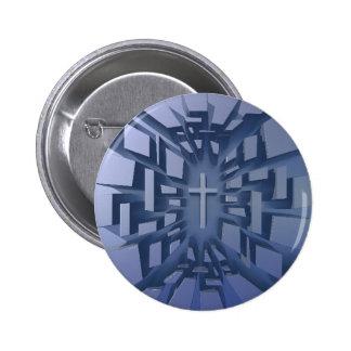 Abstract 3D Christian Cross Pinback Button