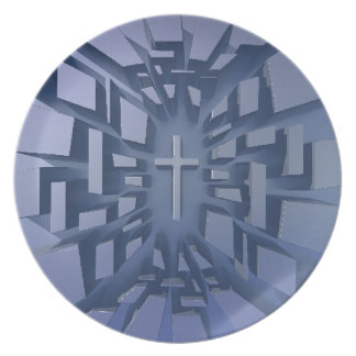 Abstract 3D Christian Cross Plate
