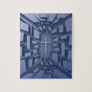 Abstract 3D Christian Cross Puzzle