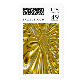 Abstract 3d Golden Shapes Stamp