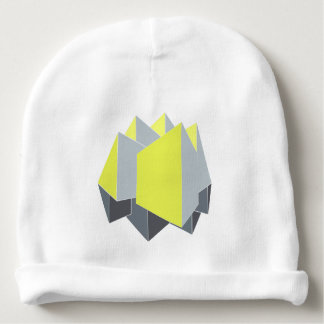Abstract 3D shapes in perspective, yellow and gray Baby Beanie