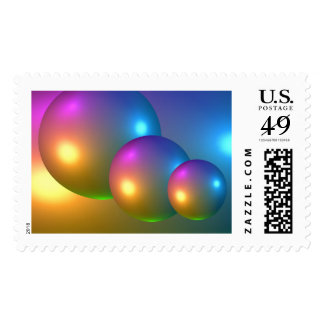 Abstract 3d Spheres Postage Stamp