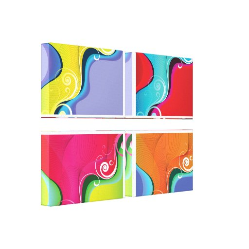 Abstract 4 Panel Gallery Wrap Canvas