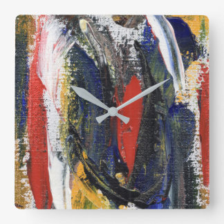 Abstract 6 square wall clock