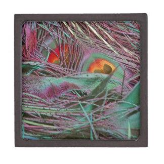 Abstract 70s Peafowl Keepsake Box