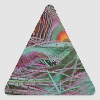 Abstract 70s Peafowl Triangle Sticker