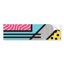 Abstract 80s memphis pop art style graphics bumper sticker