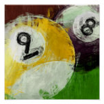 Abstract 8 and 9 Ball Poster