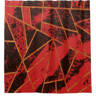Abstract 942 Red Shower Curtain
