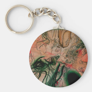 Abstract #96e basic round button keychain