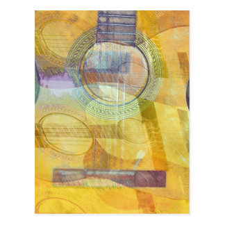 Abstract Acoustic Guitar Postcard
