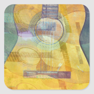 Abstract Acoustic Guitar Square Sticker
