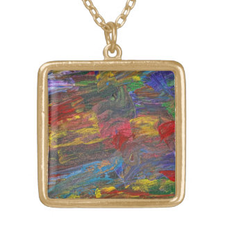 Abstract - Acrylic - Anger Joy Stability Square Pendant Necklace