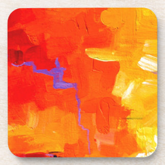 ABSTRACT ACRYLIC PAINTING BEVERAGE COASTER