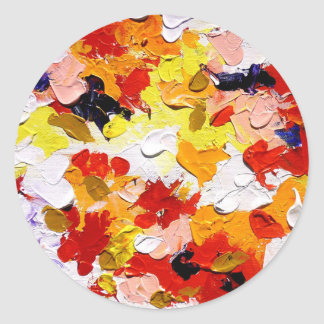 ABSTRACT ACRYLIC PAINTING ON CANVAS CLASSIC ROUND STICKER
