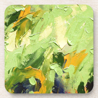 ABSTRACT ACRYLIC PAINTING ON CANVAS COASTER