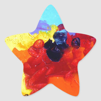 ABSTRACT ACRYLIC PAINTING ON CANVAS STAR STICKER