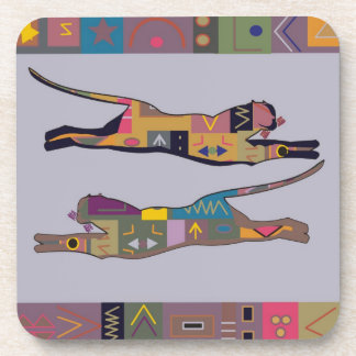 Abstract African art of leaping lions Drink Coaster
