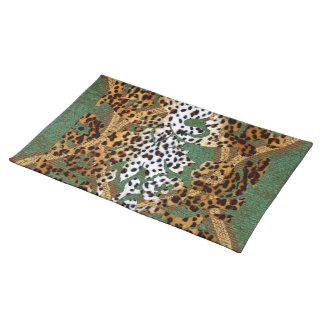 Abstract African Cheetah Design Cloth Place Mat