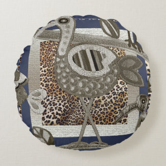 Abstract African Jungle Birds Round Pillow