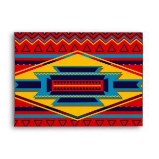 Abstract African Kente Cloth Pattern Red Yellow Envelope