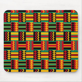 Abstract African Kente Cloth Pattern Red Yellow Mouse Pad