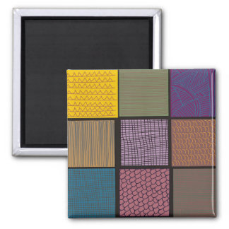 Abstract African quilt patchwork 2 Inch Square Magnet