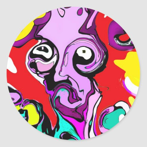 Abstract Alien Classic Round Sticker