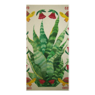 abstract aloe turtles tulips personalized photo card