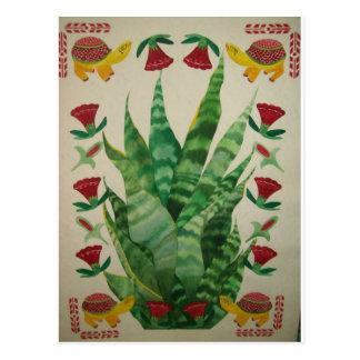 abstract aloe turtles tulips post card