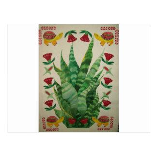 abstract aloe turtles tulips postcard