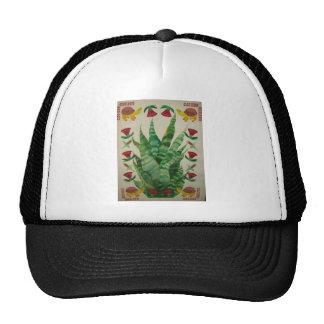 abstract aloe turtles & tulips trucker hat